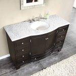 Silkroad 55 Inch Single Sink Bathroom Vanity Carrara White Marble Counter Top
