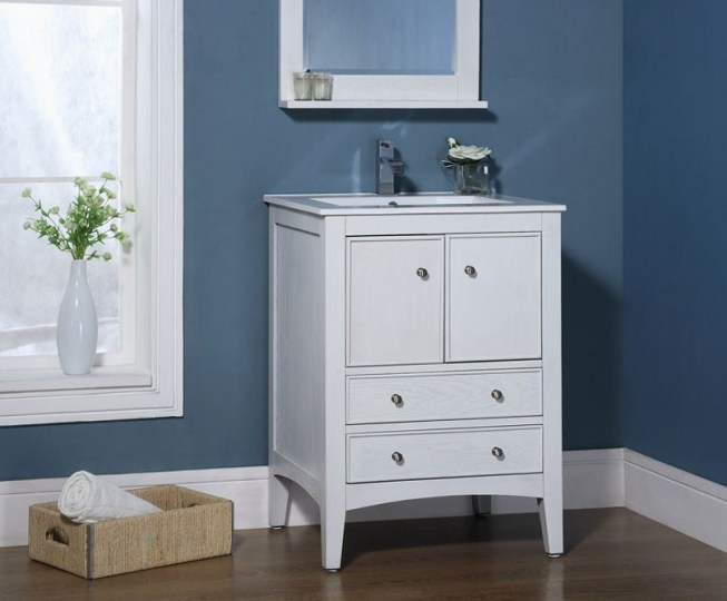 Kent 24 inch Traditional Bathroom Vanity Whitewash Finish Xylem Kent 24  Traditional Bathroom Vanity Whitewash Finish