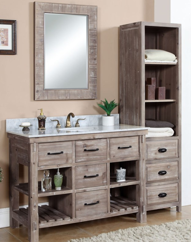 accos 48 inch rustic bathroom vanity matte ash grey limestone top