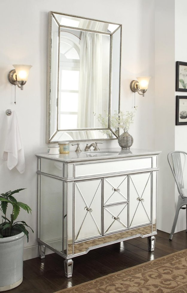 adelina 44 inch mirrored bathroom vanity cabinet, fully assembled