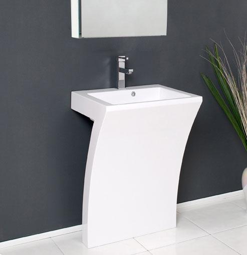 23 white pedestal sink modern bathroom