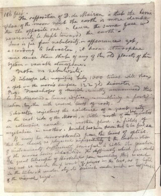 Poe's Manuscript Used to Prepare his book, Eureka