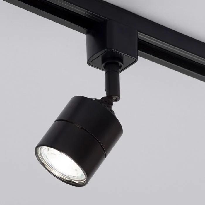 3 metre long l shape track light kit with 6 soho heads and led bulbs black