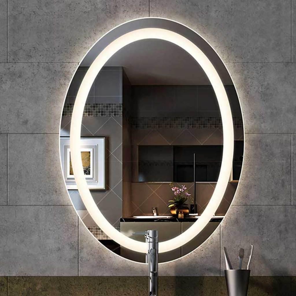 Modern & Contemporary Bathroom Front-Lit LED Frameless Lighted Vanity Mirror.