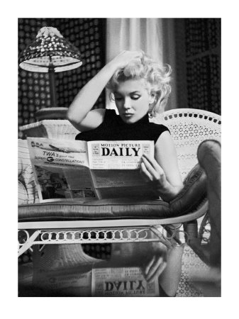 ed-feingersh-marilyn-monroe-reading-motion-picture-daily-new-york-c-1955