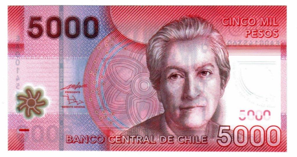 Homenaje de Chile en su billete de 5 mil pesos.