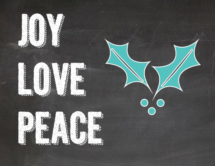 free holiday prints joy love peace
