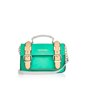 Green faux suede mini satchel bag $44