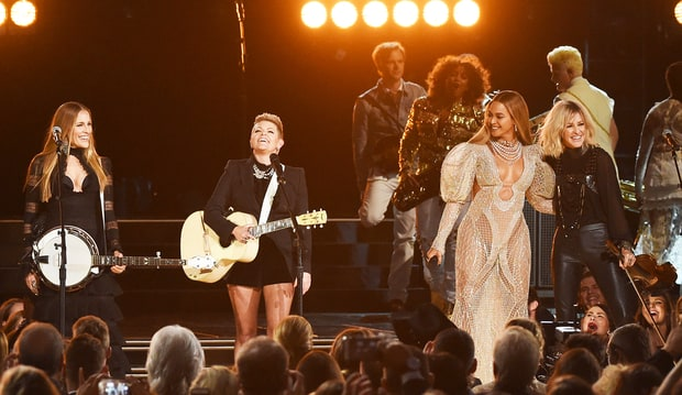 Photo Credit: Rick Diamon/Getty images.   Photo Source here: http://www.usmagazine.com/celebrity-news/news/beyonce-performs-daddy-lessons-with-the-dixie-chicks-at-2016-cma-awards-w448266