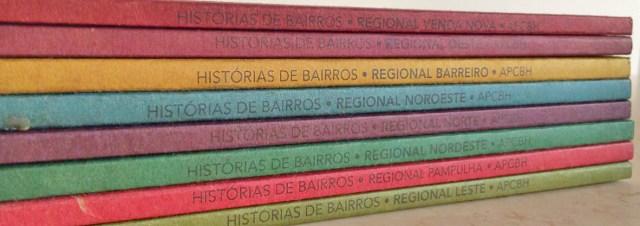 lombada dos livros ca coleção histórias dos bairros de bh
