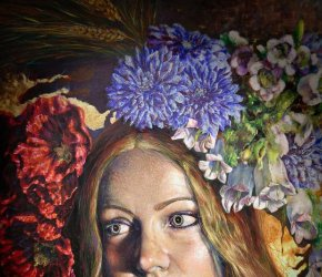 Girl with Flowers - The artwork of Luque