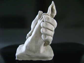 Grasping Candle Clay Sculpture