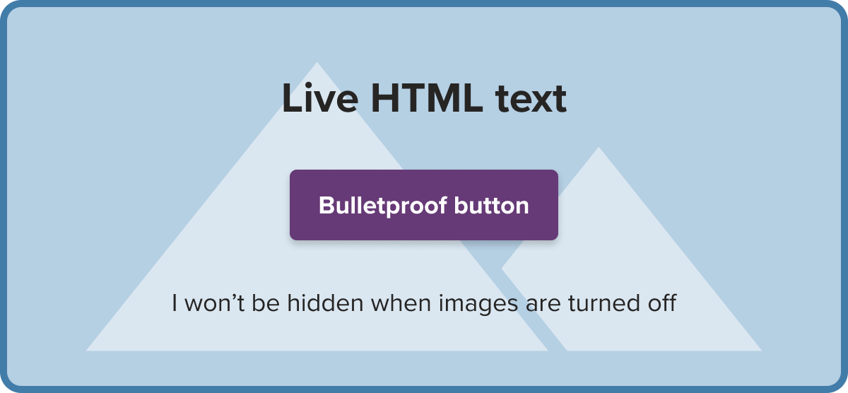 example of live HTML text and a bulletproof button over a background image