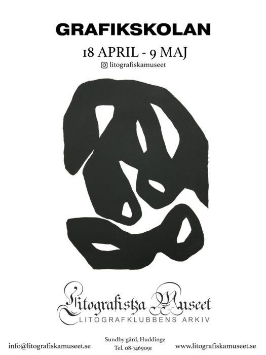 Affisch för Grafikskolans utställning på Litografiska museet.