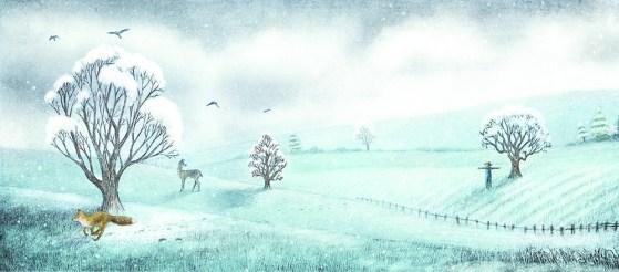 l'épouvantail au coeur de paille sous la neige