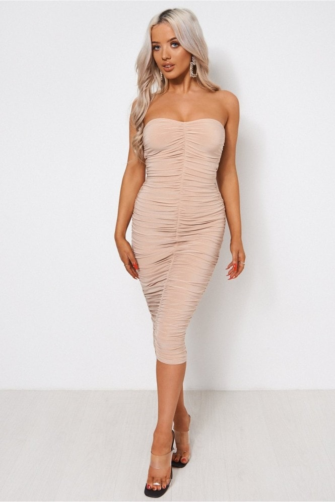 The Fashion Bible Lois Champagne Ruched Strapless Bodycon Dress 9