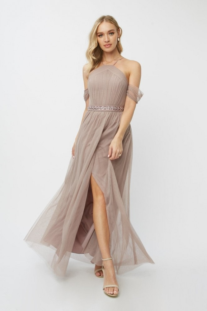 Little Mistress Bridesmaid Leonora Oyster Embellished Belted Maxi Dress 10