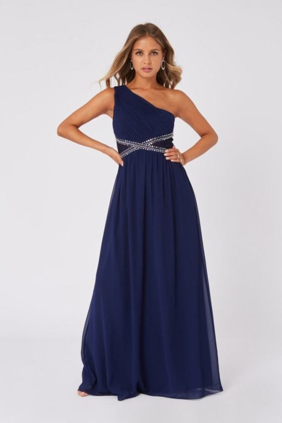 Little Mistress Sonja Navy Embellished One-Shoulder Maxi Dress 5