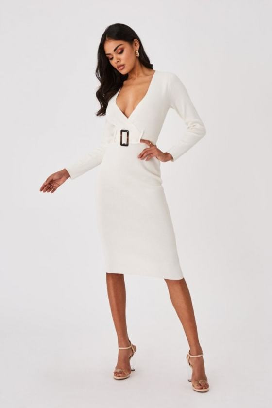 Outrageous Fortune Capsule White Belted Bodycon Midi Dress 9