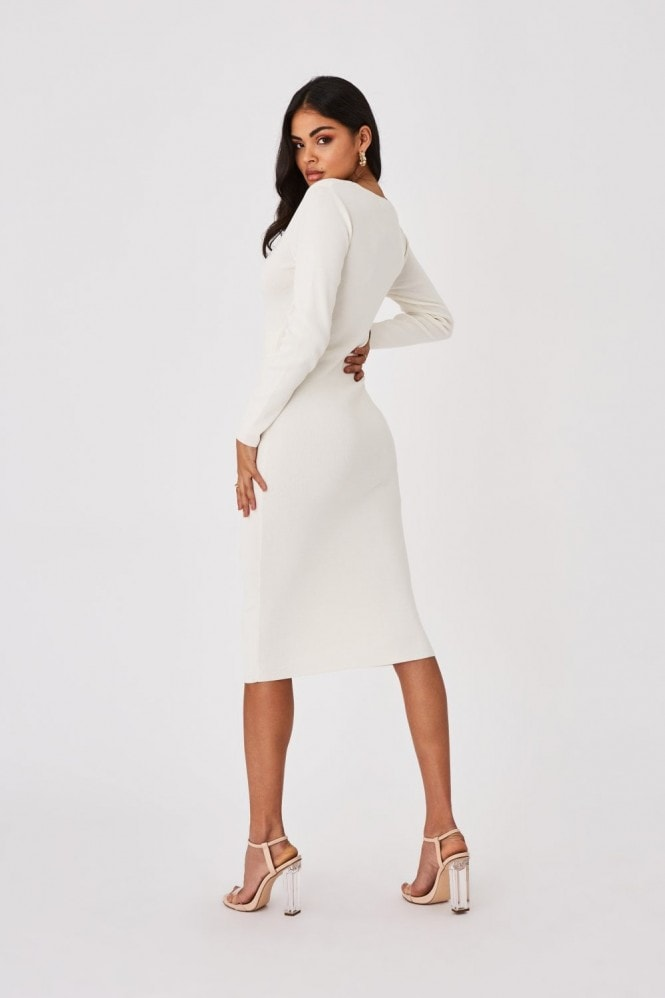 Outrageous Fortune Capsule White Belted Bodycon Midi Dress
