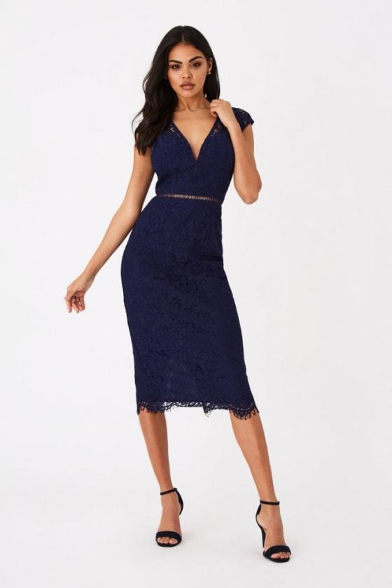Girls on Film Caro Navy Lace Plunge Midi Dress 6