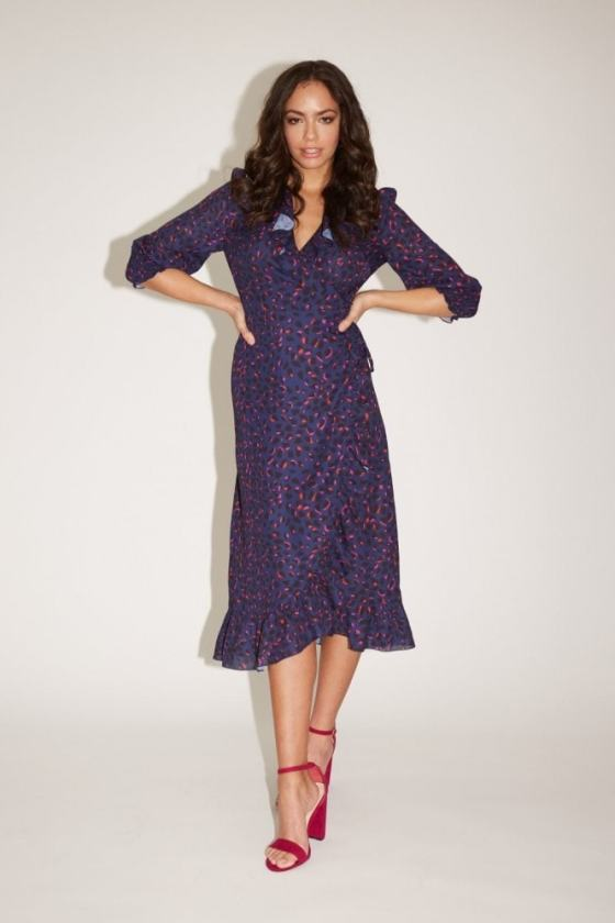Girls on Film Acapulco Navy Leopard-Print Midi Wrap Dress 9