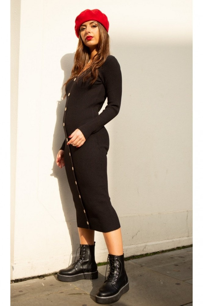 SlayTwins Sofia Knitted Long Sleeve Midi Dress with Buttons in Black 3
