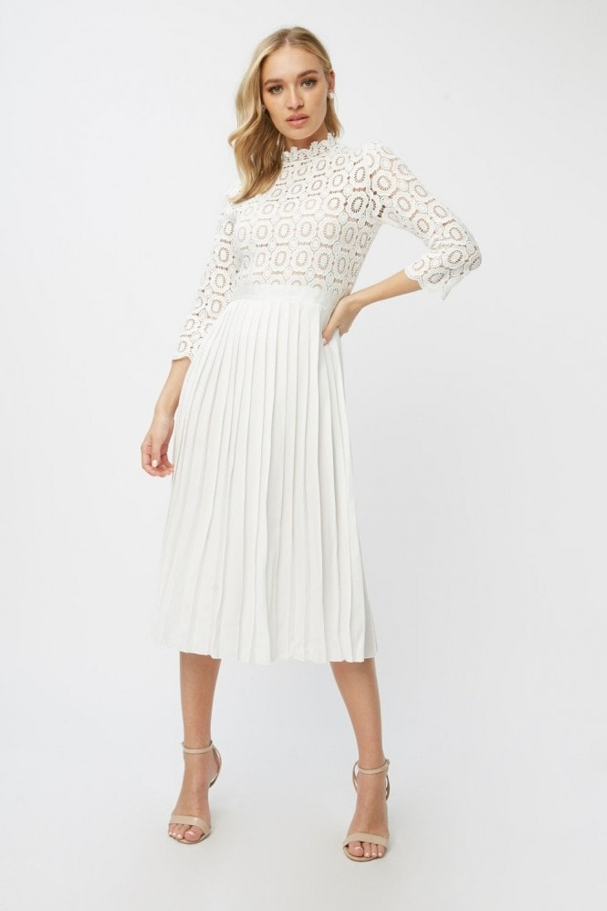 Little Mistress Alice White Crochet Top Midi Dress With Pleated Skirt 11