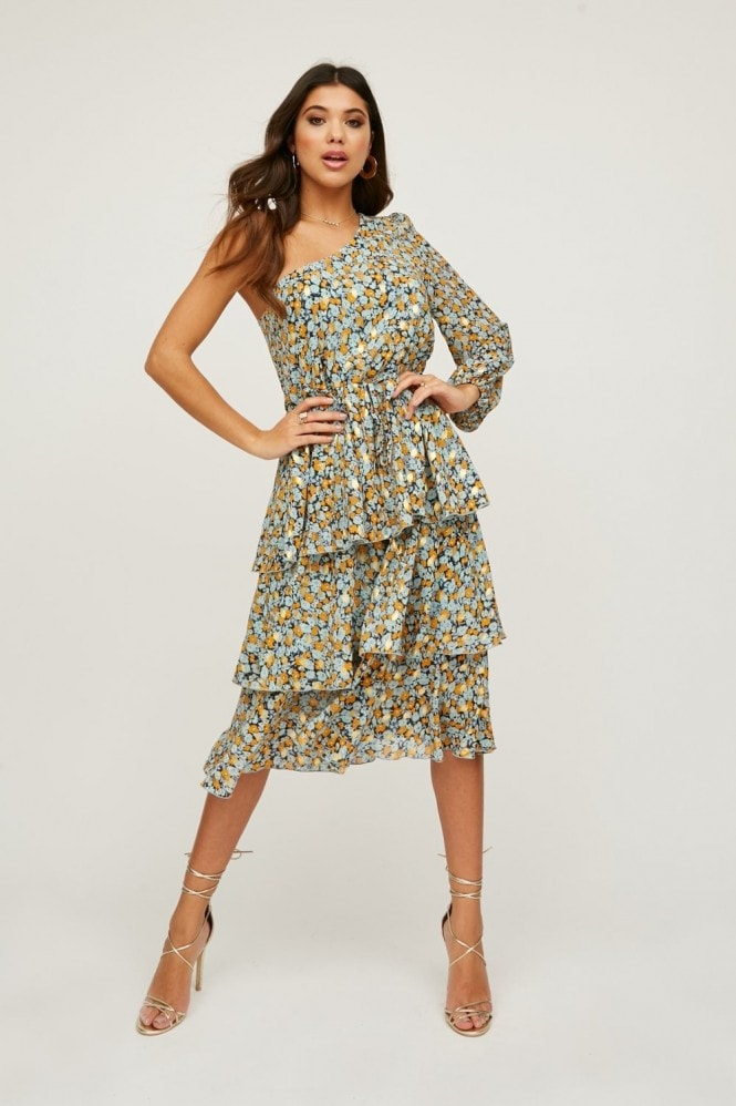 Little Mistress Folli Blue Floral-Print Gold-Fleck Tiered Midi Dress