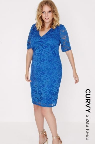 Cobalt V Neck Bodycon Dress