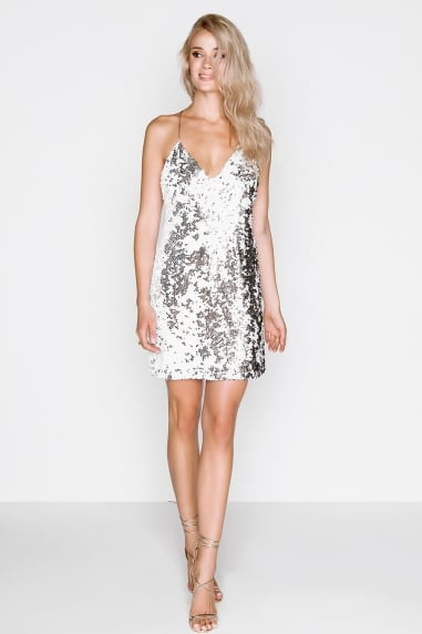 White Sequin Dress