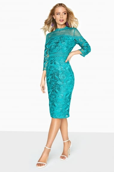 Ella Guipure Lace Pencil Dress With Stand Collar