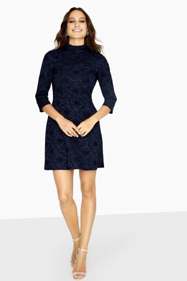Gradi High Neck Dress In Jacquard