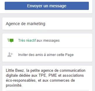 taux de réactivité des messages sur Facebook Messenger