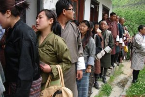 People queuing up for the election