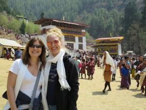 Tricia & Lindsay at the Paro Tshechu Festival
