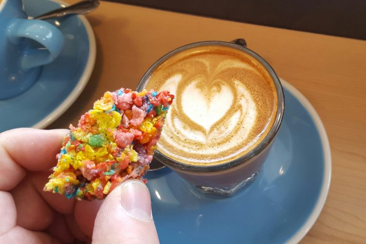 Fruity Pebbles Coffee with a side Fruity Pebbles Crispy at Fleet Coffee