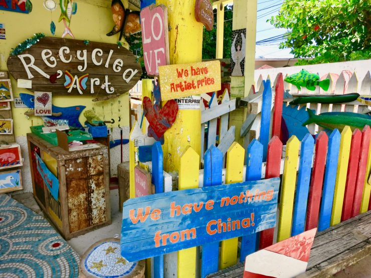 At Roatan's Rusty Fish, Nothing made in china at Rusty Fish! Buy local made souvenirs here in West End.