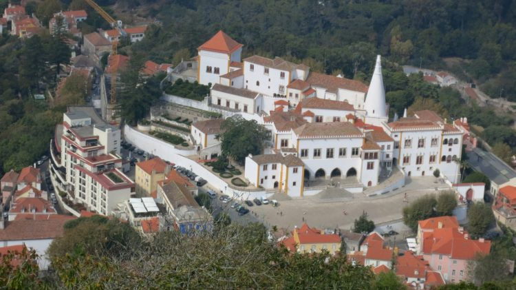 The view of Palace of Sintra from the Moors Castle.