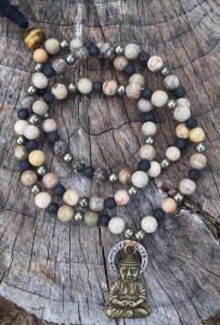 Full Mala with Petoskey stones and Buddha