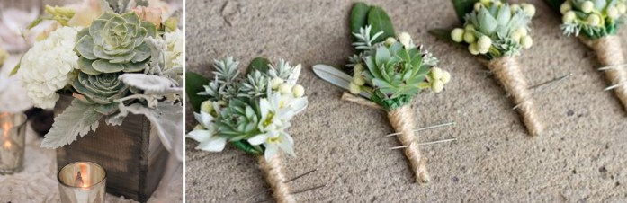 Green, earthy wedding table decoration and corsages