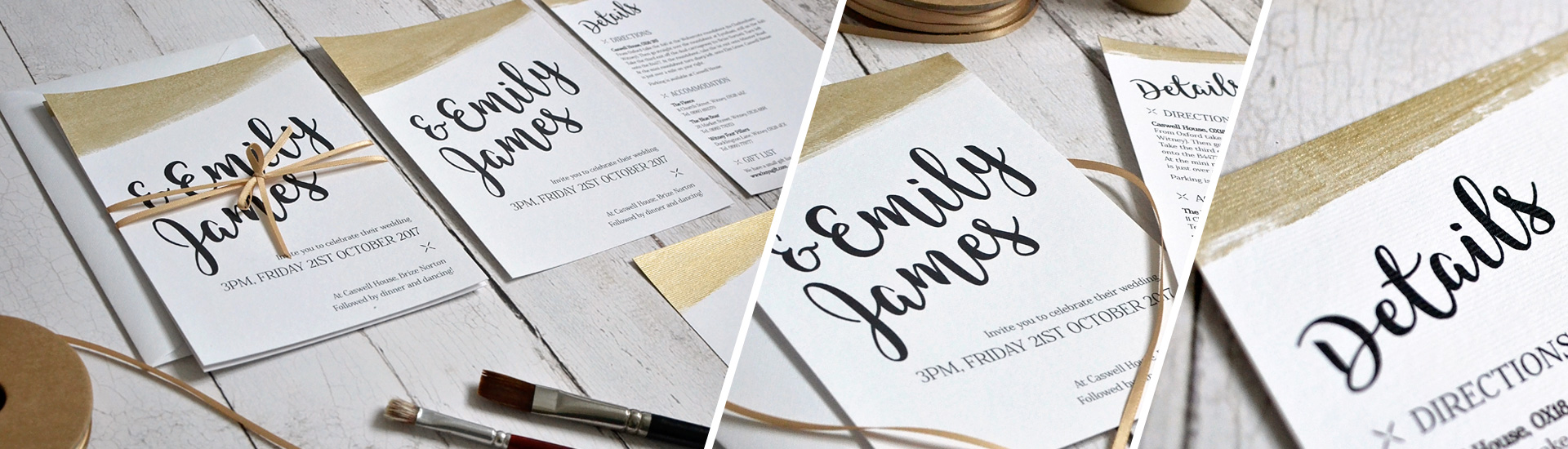 Gold wedding invitation and stationery