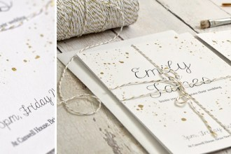 White and gold wedding invitation