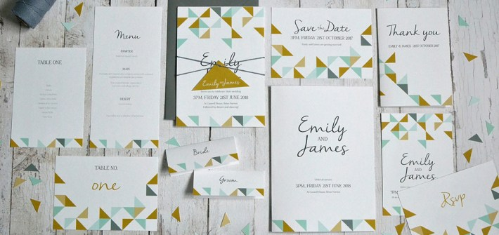 geometric wedding invitaiton and stationery