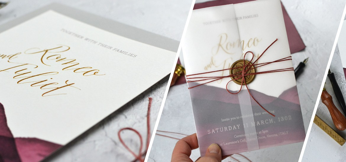 theatrical wedding invitations