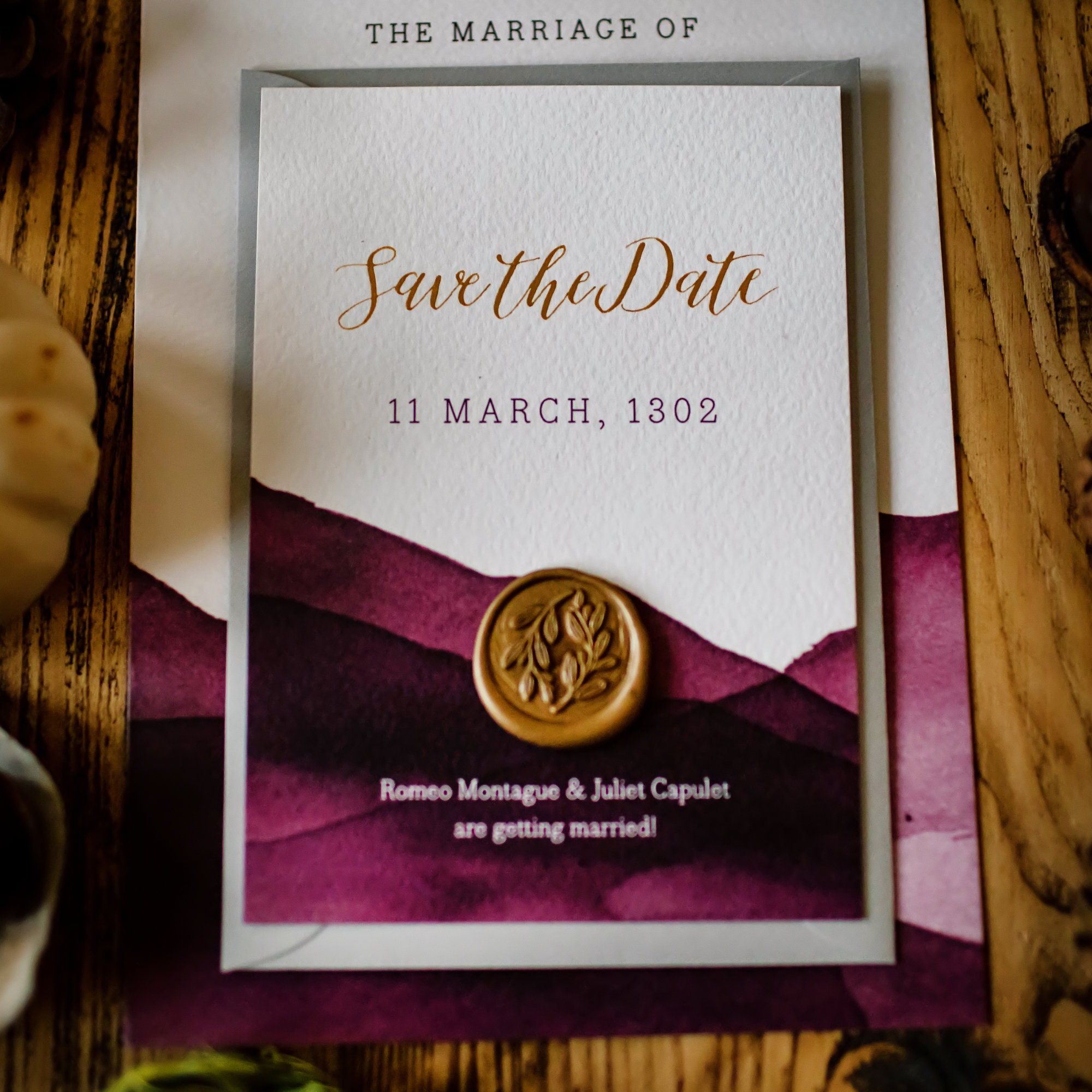 theatrical wedding save the date