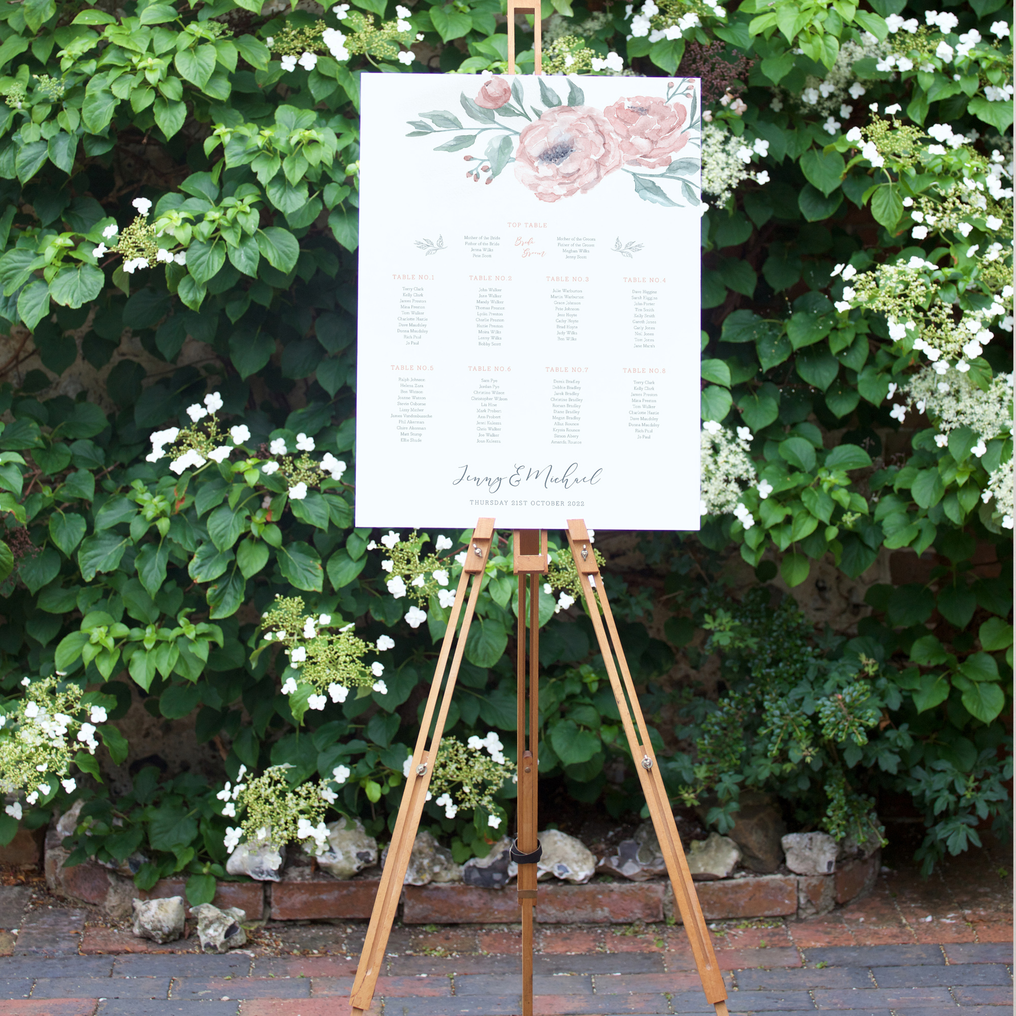 Peony Wedding Table Plan