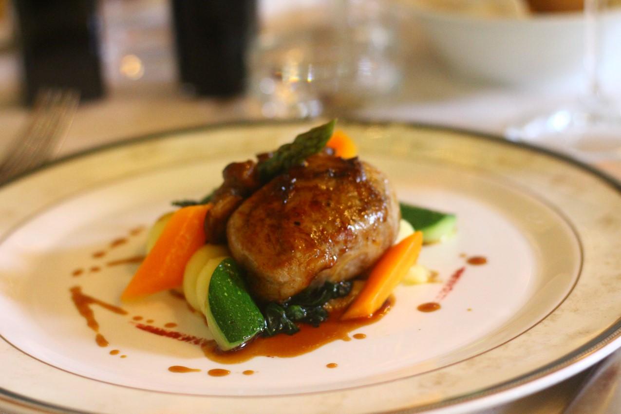dish with fresh Porcini mushrooms, garden vegetables