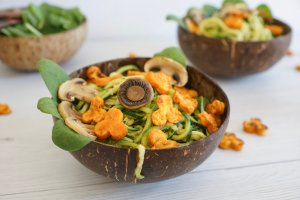 Zoodles with Mushrooms & Sweet Potato Flowers (GF, Paleo, AIP)