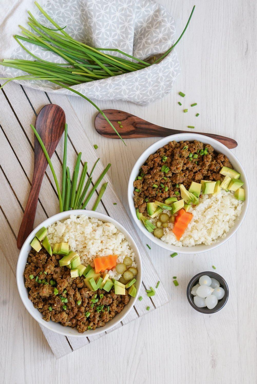 Korean Beef Cauliflower Rice Bowls Paleo Aip Whole 30